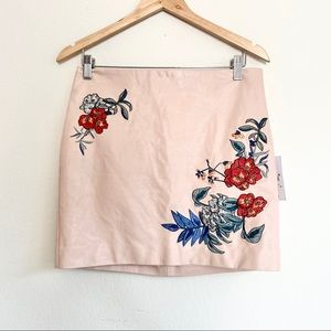 Guess Vegan Leather Blush Embroidered Mini Skirt